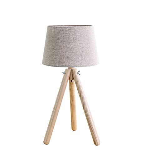 Tafellamp, stof, driepoot van hout, modern, solide led-tafelverlichting, stoffen houten lamp, slaapkamer, Scandinavisch bed, leeslamp, tafellamp, studeerkamer, woonkamer, bureaulamp
