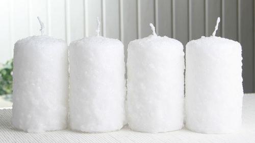 CandleCorner Weihnachtskerzen 4er-Set Stumpenkerze Schneeball, ca. 10 x 6 cm Ø, weiß