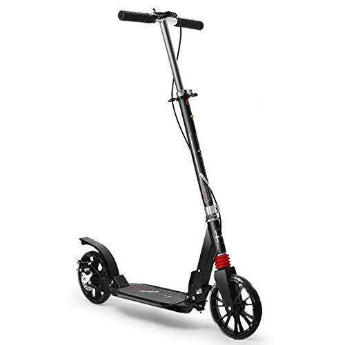 LJHBC Kickscooter Geeignet für Erwachsene Jugendliche Tragbarer zusammenklappbarer Roller Mit Handbremse und Scheibenbremse Roller Pendeln Lagergewicht 150kg Schwarz-Weiss (Color : Black)
