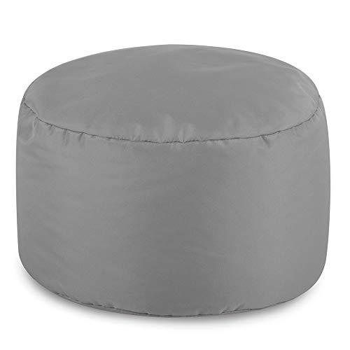 Bean Bag Bazaar Runder Fußhocker für Innen und Außen, 38cm x 20cm (Grau, 1)