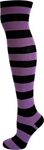 normani® Damen Overknees Geringelt, Blickdicht mit vielen Farbmustern Farbe Schwarz/Lila