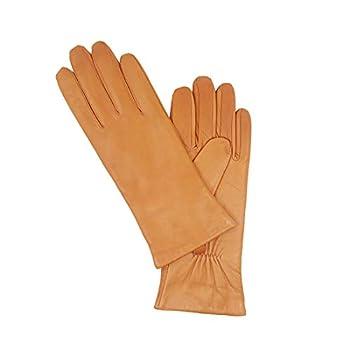 Harssidanzar Womens Luxury Italian Lambskin Leather Gloves Cashmere Lined Upgrade GL006 TAN,Size S