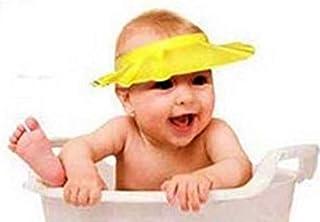 غطاء رأس مرن و قابل للتعديل لحماية أعين الأطفال من الشامبو أثناء الإستحمام - أصفر