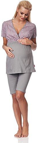 Be Mammy Damen Umstands Pyjama mit Stillfunktion M3R2LL1 (Grau, L)
