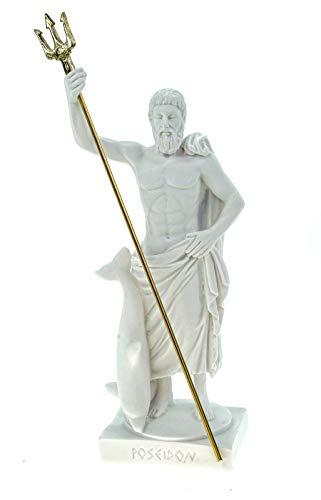 Alabaster Figur Poseidon mit Dreizack Gott des Meeres 15 cm weiß Glück Meer