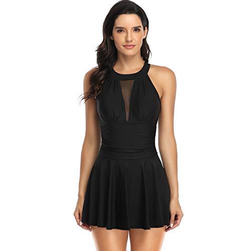 Bañador de 1 pieza con falda push up, acolchado, reductor, bikini falda tankini de cintura alta Beachwear vintage, Negro , M