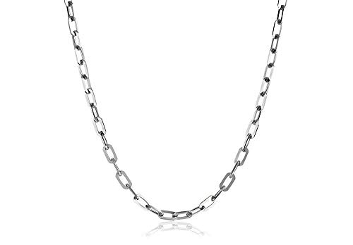 Verona Jewelers 925 Sterling Silver 3MM 4.5MM 5.5MM Mariner Anchor Link Chain Necklace- Square Link Cable Link Necklace Chain, Twist Link Necklace, Rolo Chain Necklace (18, 3MM)