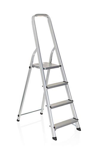 hjh OFFICE 801101 Klappleiter SOLID II Aluminium Trittleiter mit 4 Stufen & Sicherheitsbügel, bis 150kg belastbar