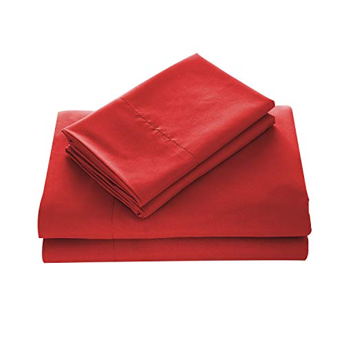 WAVVA Bedding Luxury 4Pcs Bed Sheets Set 1800 Deep Pocket Wrinkle amp Fade Resistant Queen Bedding Burgundy Ribbon Red
