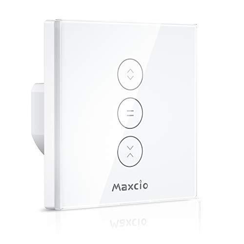 Maxcio Interruttore da Parete per Motore Tapparelle Elettriche, Interruttore Smart per Avvolgibili Tapparelle WiFi Compatibile con Alexa Echo e Google Home, WiFi Curtain Switch Touch Control, Timer