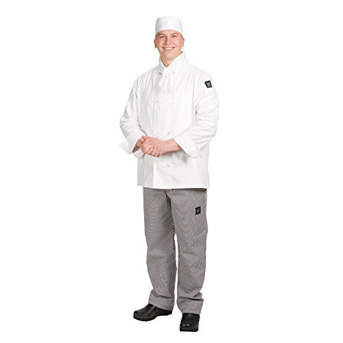 Chef Revival J049 24/7 Poly Cotton Blend Long Sleeve Unisex Cool Crew Jacket with Clear Pearl Bottons, Large, White