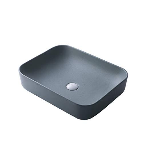 Lavabo de piedra,Cuenca sanitaria Lavabo del baño Lavabo sobre encimera Lavabo óvalo de cerámica (Color : Dark gray)