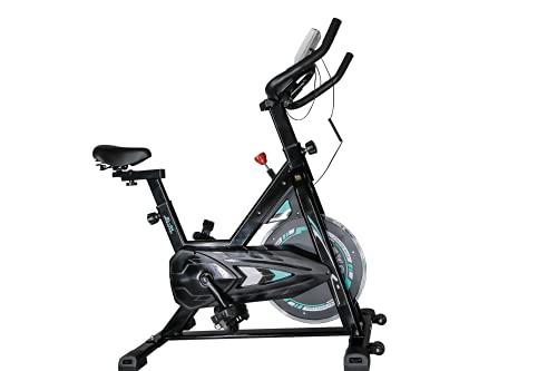 Bicicleta estática Spinning - Volante Inercia 6KG - pantalla LCD y pulsómetro Bici entrenamiento fitness con sillín y manillar ajustables Profesional (bicicleta verde)