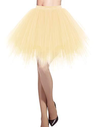 DRESSTELLS Damen Tüllrock 50er Rockabilly Petticoat Tutu Unterrock Kurz Ballett Tanzkleid Ballkleid Abendkleid Gelegenheit Zubehör Champagne L