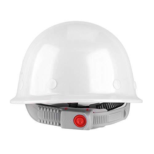 Casco de seguridad Casco de construcción ajustable ABS Sitio transpirable Sombrero de seguridad Trabajo en el casco Desgaste protector Gorra de alta visibilidad,(White)