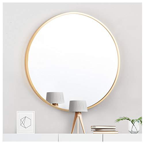 AUFHELLEN Rund Spiegel mit Gold Metallrahmen HD Wandspiegel aus Glas 50cm für Badzimmer, Ankleidezimmer oder Wohnzimmer Schminkspiegel (Gold, 50cm)