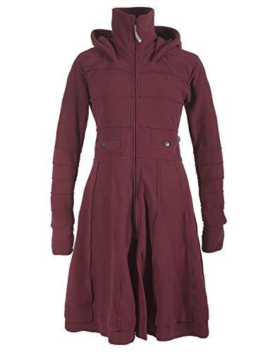 Vishes - Alternative Bekleidung - Langer Damen Fleecemantel Kapuze Stehkragen dunkelrot 42
