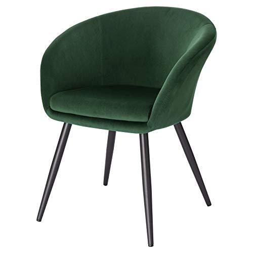 EUGAD 0624BY-1 1 Stück Esszimmerstühle Küchenstuhl Wohnzimmerstuhl Polsterstuhl mit Armlehne, Retro Design, Samt, Metall, Dunkelgrün