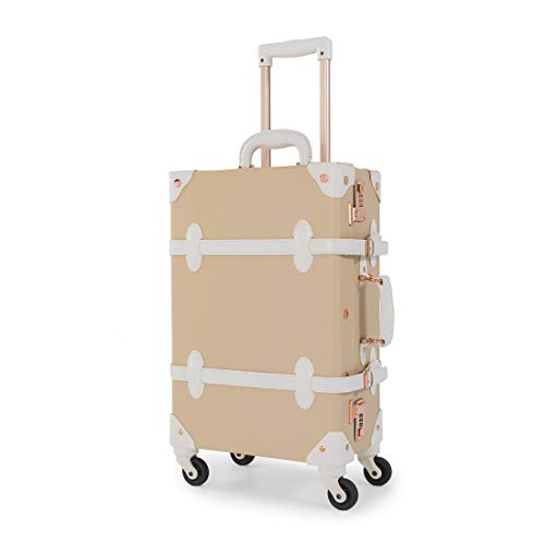 "[COTRUNKAGE] キャリーケース かわいい スーツケース ヴィンテージ風 トランクケース TSAロック搭載 キャリーバッグ スーツケースカバーと収納袋付き 軽量・4輪静音 出張 修学旅行用 (ミルクティー(26""託送必要)L型, L型(2"