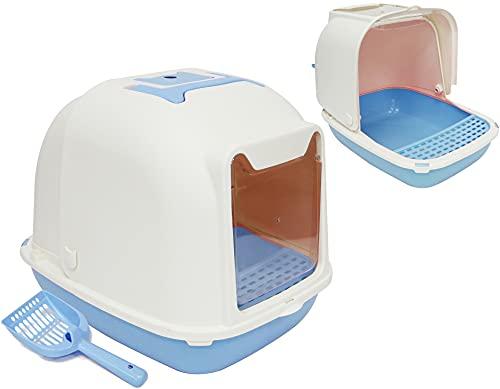 BPS Aseo Gato Arenero Sanitaria Cerrado Bandeja Arena para Gatos Mascotas con Pala y Una Bolsa para Bandja 4 Colores y 2 Tamaños M/L (L: 55x42x43 cm, Azul) BPS-5709AZ