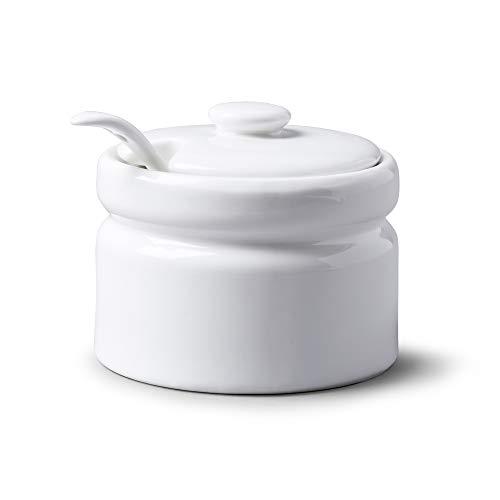 WM Bartleet & Sons 1750 Pot en porcelaine avec couvercle et cuillère, Porcelaine, blanc, 10 cm