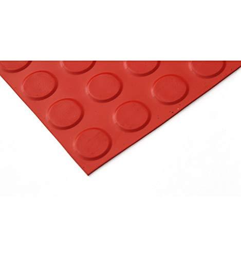 Pavimento Circulos caucho Rojo 3mm. Lestare 15,00x1,00 m y 3 mm espesor