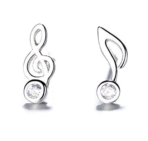 Iszie Joyería de plata de ley con diseño de notas musicales de cristal dulce