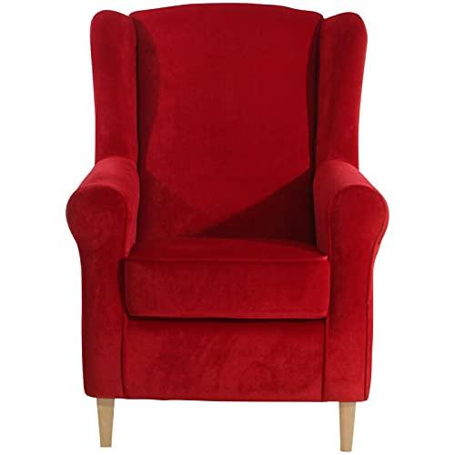 ZeoTioo Ohrensessel Ohrenbackensessel Rot Buche Natur ohrensessel esszimmerstühle esstisch stühle