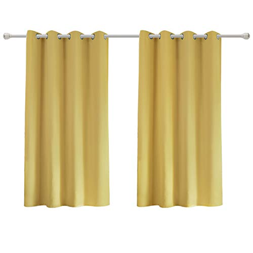 WOLTU VH5867gb-2, 2er Set Gardinen Vorhang Blickdicht mit Ösen, Leichte & weiche Verdunklungsvorhänge für Wohnzimmer Kinderzimmer Schlafzimmer 135x175 cm Gelb