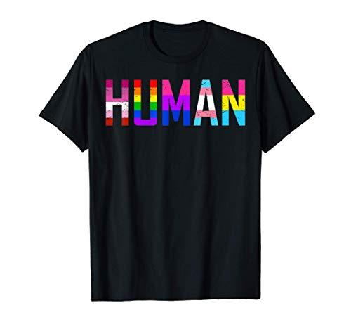 HUMAN Flag LGBT Shirt Gay Pride Month Transgender Maglietta