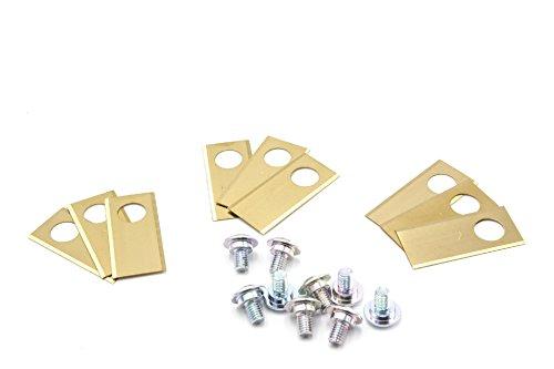 vhbw 9x Ersatz-Messer kompatibel mit Honda Miimo 3000, 310, 520 Rasenmäher - Ersatzklinge, Gold, Stahl (Titanbeschichtung)