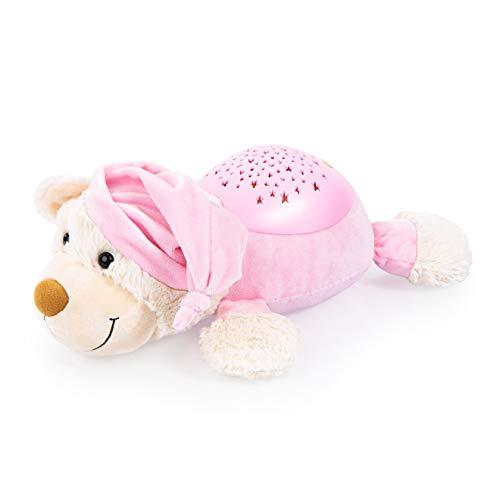 Bayer Design 69507AA Einschlafhilfe, Schlummerlicht, Nachtlicht mit Sternenlicht, Bär Kuscheltier, Nachtlampe, Kinderlicht, Baby Kinder, rosa