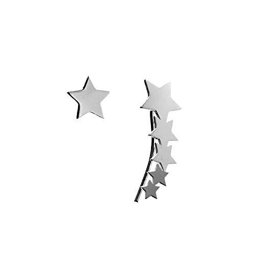 Pendientes Plata Ley 925M Estrellas Lisas Presión Lóbulo Izquierdo 9mm. Trepador 22mm...