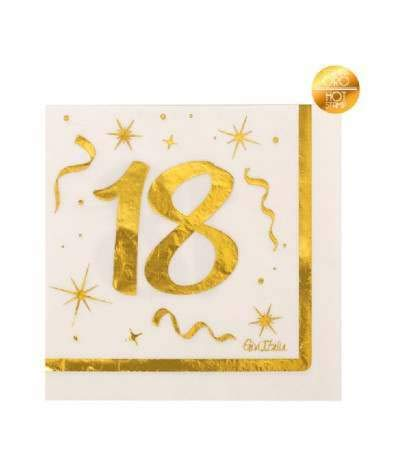 Tovaglioli 18 Anni Bianco e Oro, 16 Pz 33x33cm per Diciottesimo Compleanno