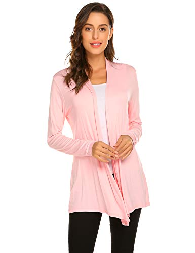 Newchoice Women's Fall Lightweight Cardigan Sweaters Plus Size Long Sleeve Open Front Soft Dusters (Light Pink, XXL)