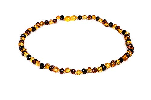 AMBERAGE Natural Baltic Amber Necklaces for Women - Hand Made from Polished/Certified Baltic Amber Baroque Beads/Quality Guaranteed (3 Colors) (45cm- 17.72INCH) (Multi with NO MATT)