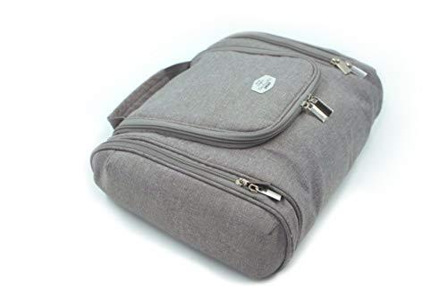 Kulturtasche zum Aufhängen für Damen & Herren, Kulturbeutel Unisex, Waschbeutel groß Männer Frauen für Koffer & Handgepäck, Waschtasche Reise-Tasche Grau