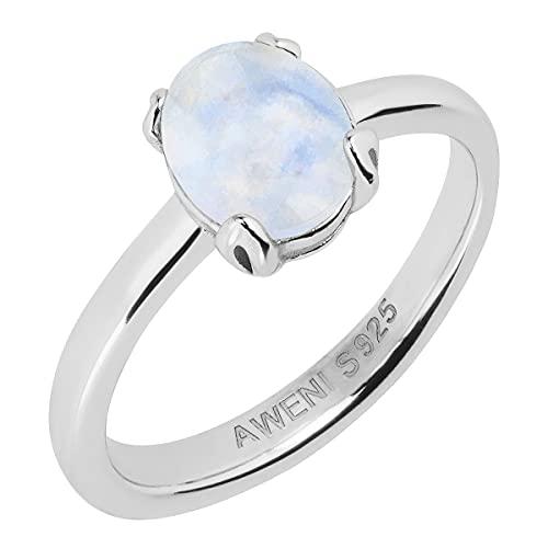 Mondstein Ring aus 925 Sterling Silber Echtsilber Damenring Amalthea von AWENI (Silber, 58)