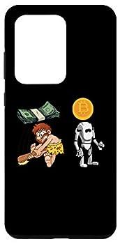Galaxy S20 Ultra Cave Man dollar vs Bitcoin Robot Pun HODL Digi Coin Humor Case