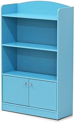 FURINNO Stylish Kidkanac Bookshelf With Storage Cabinet, Light Blue