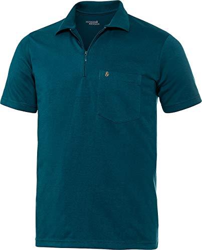 Henson & Henson Herren Poloshirt Kurzarm mit Zipper in Petrol, sportliches Polohemd aus weichem Jersey, Kurzarm-Polo in gerader Schnittform, Gr. 48-60
