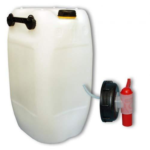 plasteo 60L Getränke- Wasserkanister Behälter Kübel naturfarben mit Schraubdeckel + Hahn (DIN 71) | Lebensmittelecht | Tragbar mit 3 Griffen | Indoor und Outdoor | BPA Frei | Made in Germany