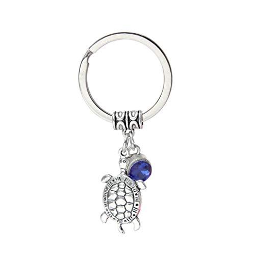 kissffriday blue rhinestone tortoise keychains