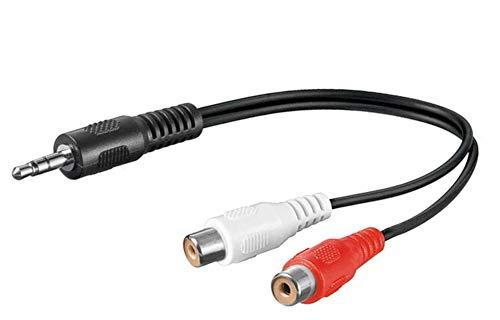 PremiumCord Klinke auf Cinch Y Kabel 0,2m, Klinkenstecker 3,5mm auf 2x Cinch RCA Buchse, Jack zu RCA, Stereo Audio, Für Digitalkamera, TV, Handys, MP3, HiFi, Farbe schwarz