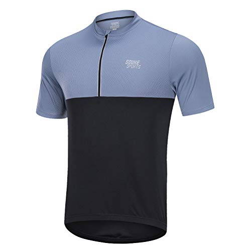 Souke Sports Mens Cycling Jersey Wicking Bike Bicycle Shirt Zipper Short Sleeve with 3 Rear Pockets Black/Grey Small