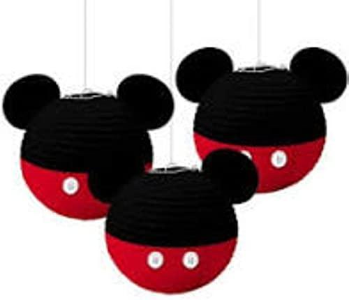 Amscan 243629 Mickey Mouse - Farolillos colgantes (papel de 24,1 cm, 3 unidades), color negro, rojo, multicolor