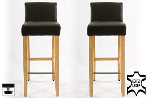 2x Edler Holzbarhocker braun Barhocker Holz Holzgestell Natur mit Rückenlehne und verstellbaren Bodengleitern ECHT LEDER