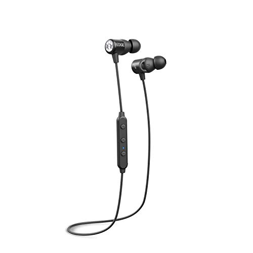 MuveAcoustics Edge Bluetooth in-Ear Headphones, IPX-4 Waterproof, Wireless Noise Cancelling Sport Earbuds, Rich Bass Earphones with mic, case, up to 7 Hours, Black