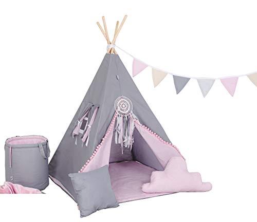 Kinder Teepee Tipi Set für Kinder Spielzeug drinnen draußen Spielzelt Zelt 8 Elemente dabei Tipi-Set Indianer Indianertipi mit Fenster usw. (Tipi mit 8 Elementen, grauer Hase)
