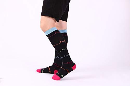 Calcetines de alta presión de carrera de barril con calcetines de compresión elástica Electrocardiograma negro S/M